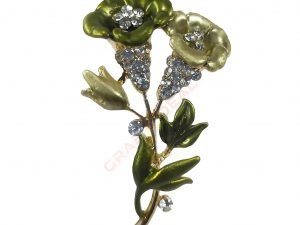 DOUBLE FLOWER GREEN AND YELLOW BROOCH - GRAB2DEAL